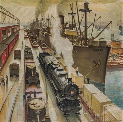 John Clymer, 'Keeping Appointments with Convoys, Pennsylvania Railroad, 1943', 1943