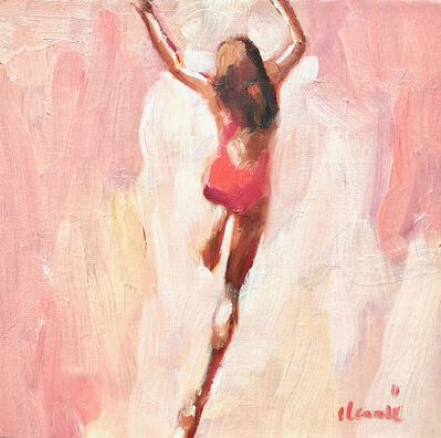 "Elizabeth Lennie, '""Mythography #110"" abstract oil painting of a girl jumping in the water with pink background', 2018"