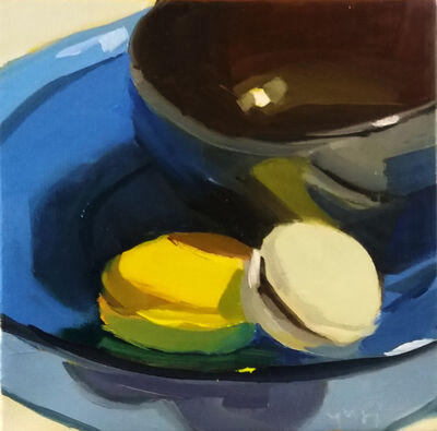 Yuri Tayshete, 'Macarones and a Black Bowl on a Blue Plate', 2020