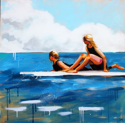 "Debbie Miller, '""Dawn Patrol"" oil painting of a boy and girl on white surfboards in a blue ocean', 2019"