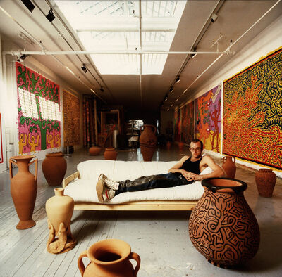 Tseng Kwong Chi, 'Keith Haring New York Studio', 1988