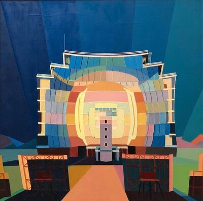 Jo Gundry, 'Sun Temple, Post Industrial Art, Large Modernist Colorful Oil Pai', 1970-1979