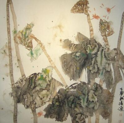 """Zhou Xiao, '""""Dragonfly #7"""" Chinese abstract ink on paper in neutral palette', 1995-2005"""