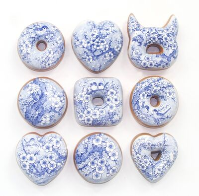 Jae Yong Kim, 'Blue and White Donuts (9)', 2019