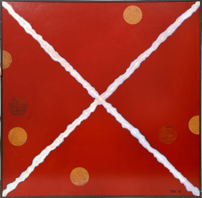 Dan Teis, 'White X on Red with Orange Dots', 1978