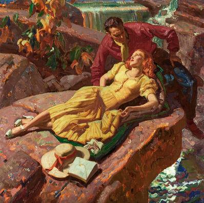 Dean Cornwell, 'Couple on Rocks Art Deco', 1931