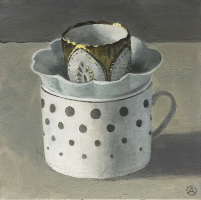 Olga Antonova, 'Three Stacked Cups on Gray', 2020