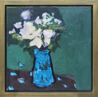 Jennifer Hornyak, 'Blue with Alizarin Brown - small blue, pink, green, figurative still life oil', 2020