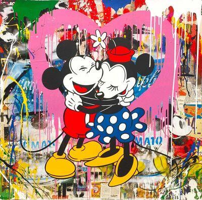 Mr. Brainwash, 'Mickey & Minnie Hug (Pink Heart)', 2017