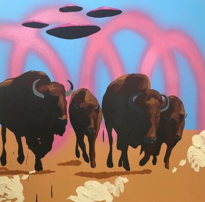 Frank Buffalo Hyde, 'Buffalo Fields Forever - Bulls on parade #2', 2019