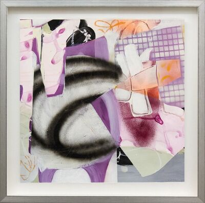 Fiona Ackerman, 'Composition No 18 - colorful collage in violet, peach, pink and tangerine', 2015