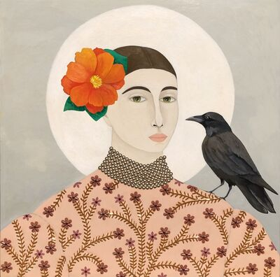 "Leslie Barron, '""Admiration"" Mixed media portrait of a woman with a crow and an orange flower', 2019"