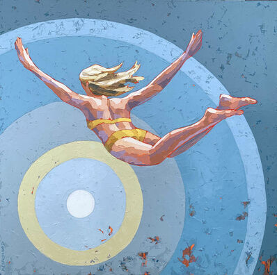 "Paul Norwood, '""Freedom"" impasto style acrylic painting of a woman in yellow bikini diving into blue bullseye', 2020"