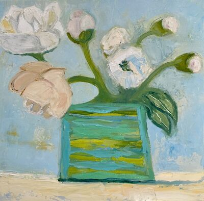 "Anne Harney, '""Peonies"" oil painting of white and pink peonies in a green vase', 2020"