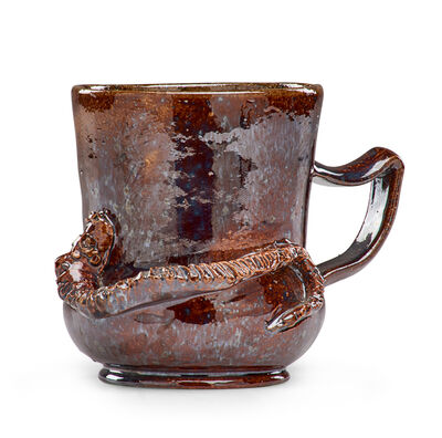 George Ohr, 'Snake mug with ear handle, mahogany and gunmetal sponged-on glaze', 1898-1910