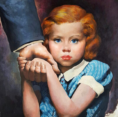 Robert Riggs, 'Holding her father's hand, Magazine Illustration ', ca. 1940's