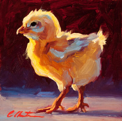 "Cheri Christensen, '""Confident Chick"" oil painting of a yellow chick in profile', 2019"