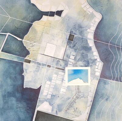 Cecilia Villanueva, 'Tenochtitlan Island, aerial view, Mexico history, blue, white, gray, past, environmentalist, climate change, Aztec Empire', 2019