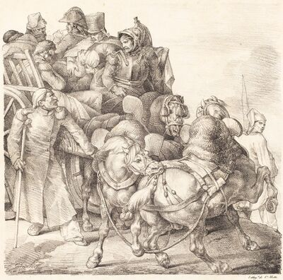 Théodore Géricault, 'Cart Filled with Wounded Soldiers (Chariot charge de soldats blesses)', 1818