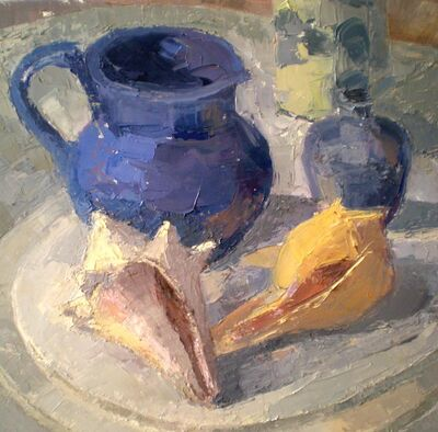Ginger Levant, 'Blue Pitcher on Round Table', 2012