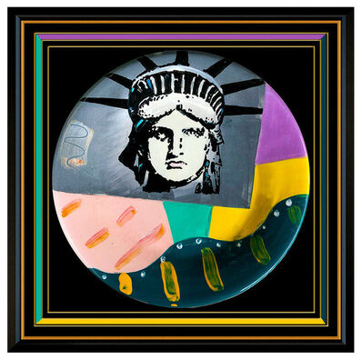 Peter Max, 'Peter Max Original Acrylic Painting Glazed Ceramic Plate Signed Liberty Head Art', 1992