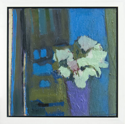 Jennifer Hornyak, 'Pink Flower with Green and Bronze - elegant textured florals, still life oil', 2020