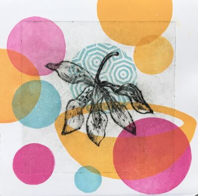 Liz Parkinson, 'Garden Cycle, Orchideas #5, drypoint, relief print on Japanese washi', 2019