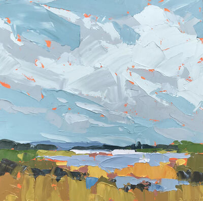 """Paul Norwood, '""""Abbott's Lagoon"""" acrylic painting of a warm waterscape with a light blue sky', 2010-Present"""