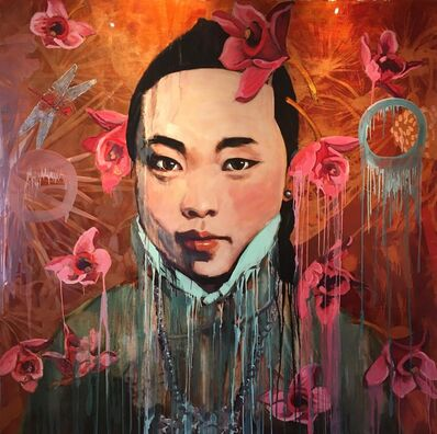 Hung Liu, 'Red Flower Rain', 2017