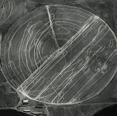 Emmet Gowin, 'Harvest Traffic over Agricultural Pivot near Hermiston, Oregon', 1991