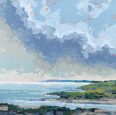 "Paul Norwood, '""Opening the Pond"" impasto style acrylic painting of martha's vineyard landscape', 2020"