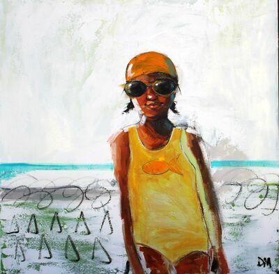 "Debbie Miller, '""Sunshine Daydreams"" oil painting of a girl in a yellow swimsuit and cap with white background', 2019"