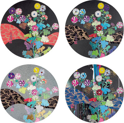 Takashi Murakami, 'Kansei: Fresh blood; Kansei: Wildflowers Glowing in the Night; Korin: Flowers; and Korin: Stellar River in the Heavens', 2014-15