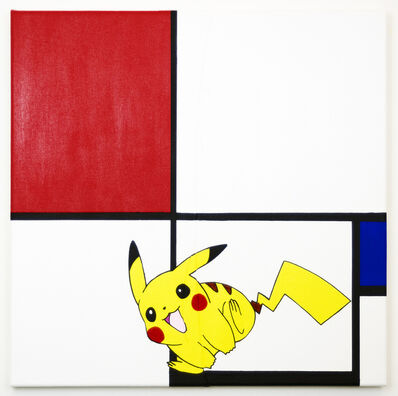 Michael Pybus, 'Composition No III, with Red, Blue, Pikachu, and Black', 2019