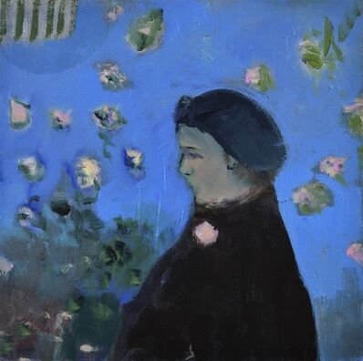 Jennifer Hornyak, 'Lady with Broach - female portrait in blue, blue, black, pink figurative oil', 2014