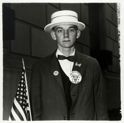 Diane Arbus, 'Boy with a straw hat waiting to march in a pro-war parade', 1967