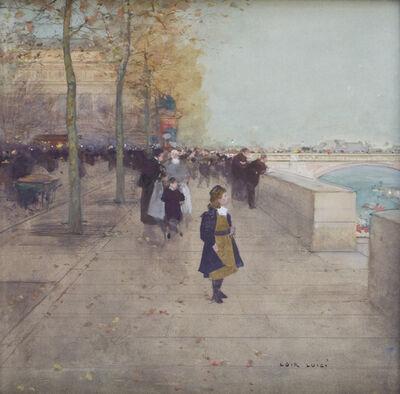 Luigi Loir, 'Fillettes sur les Quais, Place du Châtelet', Late 19th Century