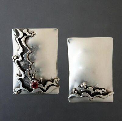 Kathy Marie Anderson, 'Sterling Silver Ribbon Trim Earrings with Rhodolite Gemstone', 2000-2019