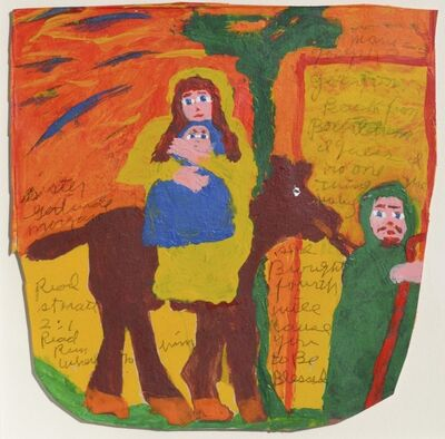 Sister Gertrude Morgan, 'Mary and Joseph Going on Back from Bethlehem ', ca. 1971