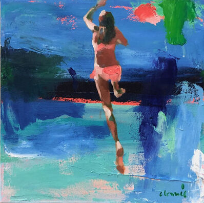 "Elizabeth Lennie, '""To The Moon"" abstract oil painting of a girl in a pink bikini jumping into blue water', 2019"