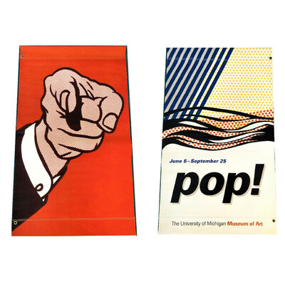 Roy Lichtenstein, ''POP!', Exhibition Street Banner, University of Michigan Museum of Art, 48  x 28 in.', 2013