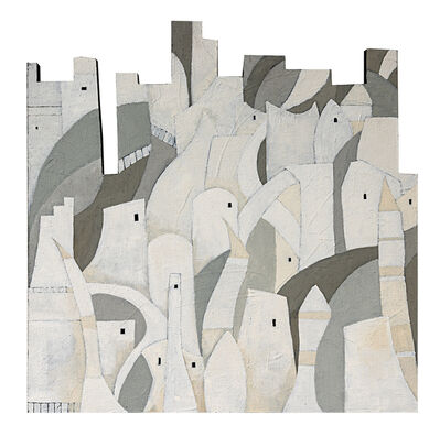 Cecilia Villanueva, 'White Cities, Painting of an abstraction of several imagined cities that appear in the book Invisible Cities by Italo Calvino, great sandy texture, irregular shape, gray and white soft tones', 2016