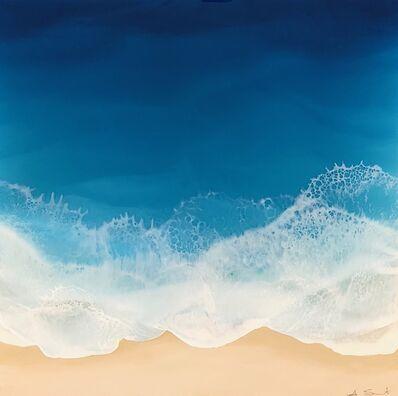 "Anna Sweet, '""Diamond Sea"" Mixed Media painting of aerial view of deep blue ocean', 2019"