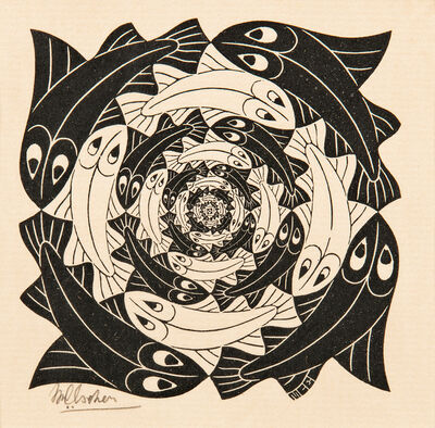 Maurits Cornelis Escher, 'Fish, Vignette', 1956