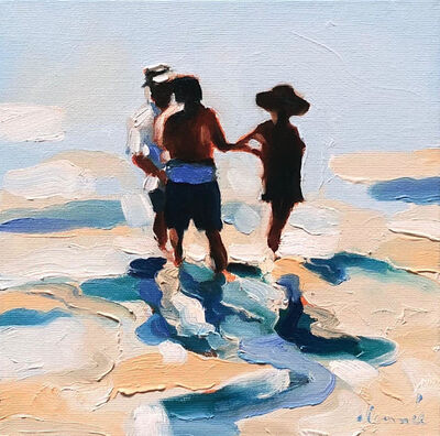 """Elizabeth Lennie, '""""Mythography 176"""" abstract oil painting of three figures wading in blue and tan water', 2021"""
