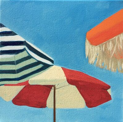 """T.S. Harris, '""""Three Umbrellas"""" Brightly Colored Painting of Beach Umbrellas on a Sunny Day', 2010-2018"""