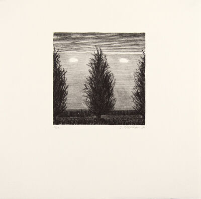 John Beerman, 'Three Trees, Two Clouds', 1990