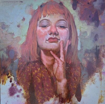 """Joseph Lorusso, '""""Attitude"""" portrait of a redhead with bangs in oil paint', 2010-2019"""