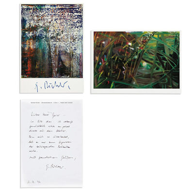 Gerhard Richter, '3-SIGNED PIECES: Two Richter Postcards (No. 439, 1978 & Second Fels, 1989), One Autographed Letter in RICHTER's Hand.', 1990