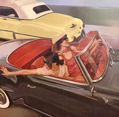 "Joseph Lorusso, '""Fancy Free"" oil painting of two women in a vintage convertible', 2020"